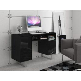 KING 9 psací stůl, černá/černý lesk Psací stoly