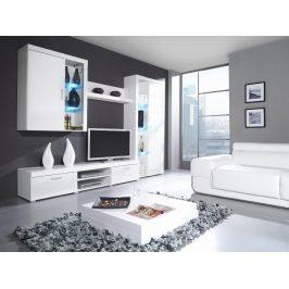 SAMBA B, obývací stěna, bílá/bílý lesk
