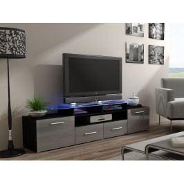 CAMA Televizní stolek RTV EVORA, černý/šedý lesk