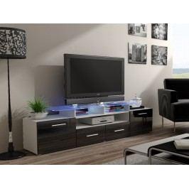 CAMA Televizní stolek RTV EVORA, bílá/černý lesk