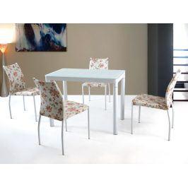 Jídelní stůl ARGUS, bílý, kov/sklo