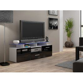 Televizní stolek RTV EVORA MINI, bílá/černý lesk Stolky pod TV