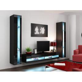 Obývací stěna VIGO NEW 3, černá/černý lesk