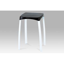 Taburet, černý plast / bílá, 83668-03 BK