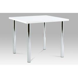 Jídelní stůl AT-1913B WT 90x90 cm, chrom / vysoký lesk bílý
