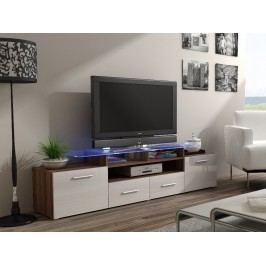 CAMA Televizní stolek RTV EVORA, švestka/bílý lesk