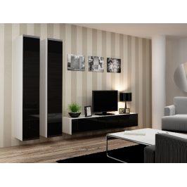 CAMA *Obývací stěna VIGO 4 A, bílá/černý lesk