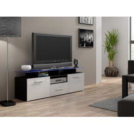 Televizní stolek RTV EVORA MINI, černá/bílý lesk