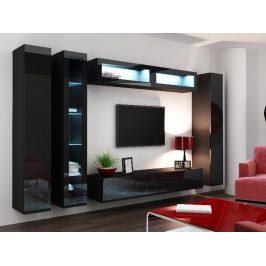 Obývací stěna VIGO 6, černá/černý lesk