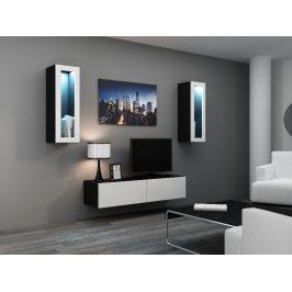 Obývací stěna VIGO 8, černá/bílý lesk