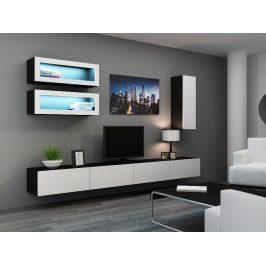 Obývací stěna VIGO 11, černá/bílý lesk