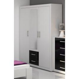 MORAVIA FLAT VIKY, šatní skříň 3D, bílá/černý lesk