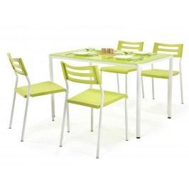 Halmar Jídelní set FIGARO 1+4 se skleněným stolem, bílá/zelená