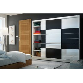 Šatní skříň s posuvnými dveřmi ARUBA 250, bílá/černá