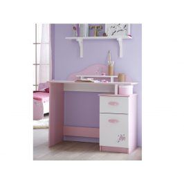 Dětský psací stůl PAPILLON, bílá/růžová