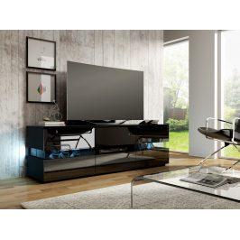 MORAVIA FLAT TV stolek INTER, černá/černý lesk