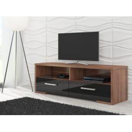 MORAVIA FLAT TV stolek ROMA, švestka wallis/černý lesk