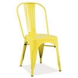 Jídelní kovová židle LOFT, žlutá