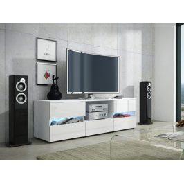 GLOBAL 2 televizní stolek, bílá/bílý lesk