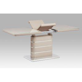 Autronic Jídelní stůl HT-442 CAP, vysoký lesk cappuccino/sklo cappuccino