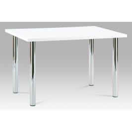Autronic Jídelní stůl AT-1914B WT 120x75 cm, chrom / vysoký lesk bílý