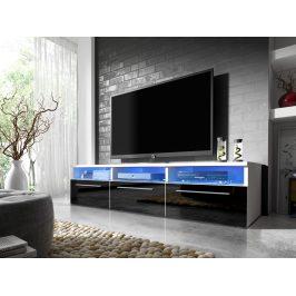 Televizní stolek RTV 2, bílá/černý lesk