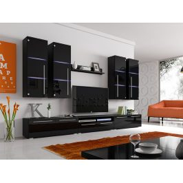 Obývací stěna BARI s LED osvětlením, černá/černý lesk