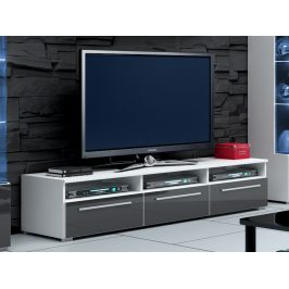Smartshop ROMA RTV stolek 150, bílá/šedý lesk