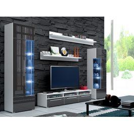 Smartshop Obývací stěna ROMA I s LED osvětlením, bílá/šedý lesk