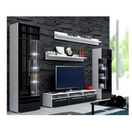 Obývací stěna ROMA I s LED osvětlením, bílá/černý lesk