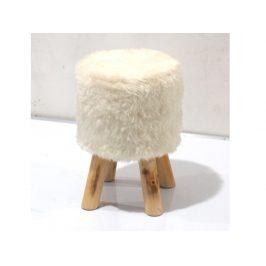 ALPIA taburet, bílá kožešina/borovice
