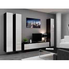 Obývací stěna VIGO 1, černá/bílý lesk
