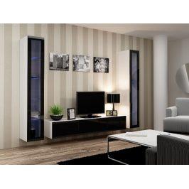 Obývací stěna VIGO 5, bílá/černý lesk