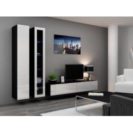 Obývací stěna VIGO 3, černá/bílý lesk
