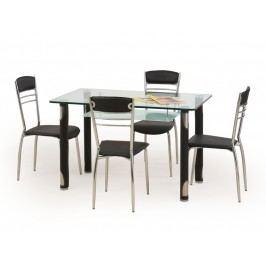 Halmar Jídelní stůl GOTARD, černý, kov/sklo Jídelní stoly