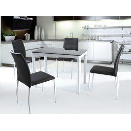 Halmar Jídelní stůl ARGUS, bílý/černý, kov/sklo