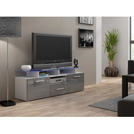Televizní stolek RTV EVORA MINI, bílá/šedý lesk