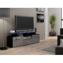 Televizní stolek RTV EVORA MINI, černá/šedý lesk