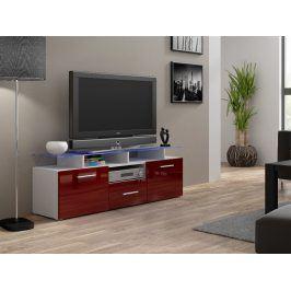 Televizní stolek RTV EVORA MINI, bílá/bordo lesk