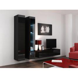 Obývací stěna VIGO 10, černá/černý lesk