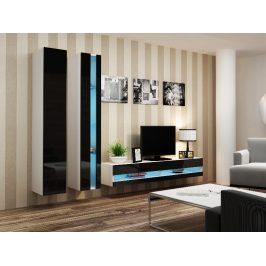Obývací stěna VIGO NEW 5, bílá/černý lesk