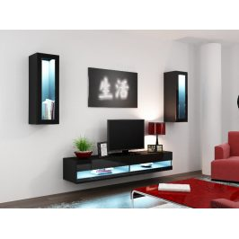 Obývací stěna VIGO NEW 11, černá/černý lesk