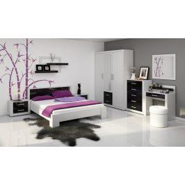 VIKI, ložnice, bílá/černý lesk