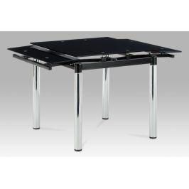 Autronic Jídelní stůl AT-1880 BK, černé sklo / chrom