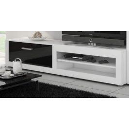 VIKI, televizní stolek 04, bílá/černý lesk