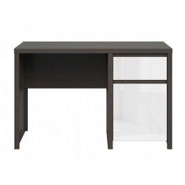 Elegantní PC stůl KASPIAN, BIU1D1S/120, bílý vysoký lesk Psací stoly