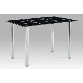 Autronic Jídelní stůl 120x80, černé sklo / chrom, AT-1888 BK