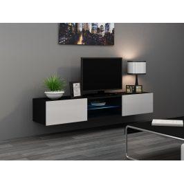 CAMA Televizní stolek VIGO SKLO, černá/bílý lesk