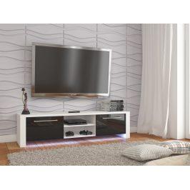 TV stolek HELIX NEW, bílá/černý lesk