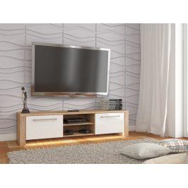 MORAVIA FLAT TV stolek HELIX NEW, dub sonoma/bílý lesk